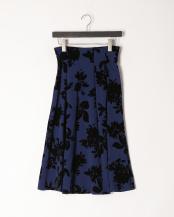 ネイビー×ブラック●フロッキープリント スカート○3005210