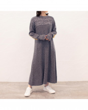 GRAY●MELANGE KNIT FLARE ONE-PIECE○405304