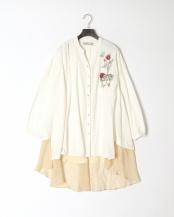オフホワイト●3素材ボタニカル刺繍シャツチュニック○511008