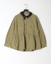 カーキ●オリジナル襟レース ピグメント染めシャツ○511013