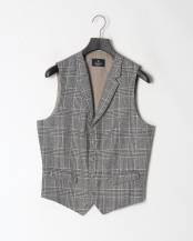 BLUE/BROWN●WOOL LINEN GLENCHK WC○HM450476R