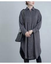 チャコールグレー●サイドスリットピンタックシャツチュニック○EM202150052