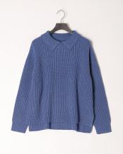 ブルー●襟付きニットPO○341-38279