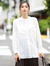 ホワイト●【洗える】バンドカラーポケットシャツ a.v.v○K2BJJ01039