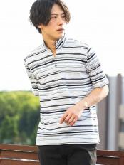 ホワイト●ポロシャツ(カノコマルチボーダー) MK MICHEL KLEIN homme○MKKGH05085