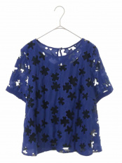 ブルー●【洗える】レーザーカット刺繍ブラウス HIROKO BIS GRANDE○RLBFJ01250