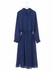 ブルー●【洗濯機で洗える】ニットジョイントドレス HIROKO BIS GRANDE○RLEFK06280