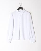 白●シャドーストライプ襟つきプルオーバー長袖シャツ○100101003