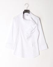 白●ドットジャガードスーパーストレッチフリル七分袖ブラウス○100102028