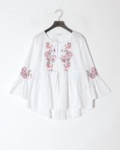 白●ペイズリー刺繍フロントリボンブラウス○100102229