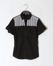 黒●ヨークレースオックス半袖シャツ○100104116
