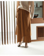 キャメル●WRAP SKIRT LAYERED PANTS○750776