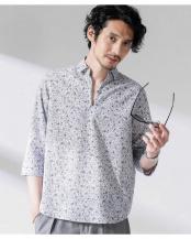 パターン1●FLOW LINEN スキッパーシャツ 7分袖 ナノ・ユニバースメンズ(オリジナル)○6680120020