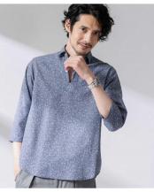 パターン21●FLOW LINEN スキッパーシャツ 7分袖 ナノ・ユニバースメンズ(オリジナル)○6680120020