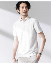 ホワイト ルーピング切替撚り杢ポロシャツ ナノ・ユニバースメンズ(オリジナル)○6680124036