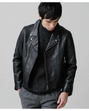 ブラック 別注cow leather riders ナノ・ユニバースメンズ(バイイング)○6709213006