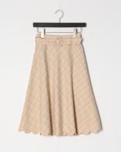 L/ORANGE●裾スカラップチェックフレアースカート○33AG02n011