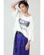 ホワイト●アートプリントTシャツ R/B(オリジナル)○6000213003