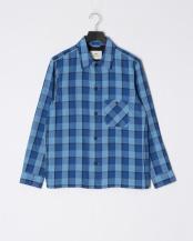 青色チェック●チェックシャツブルゾン○0-0093-1-51-340