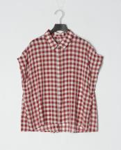 ブラウン●ギンガムチェックサイドタックシャツブラウス○11114