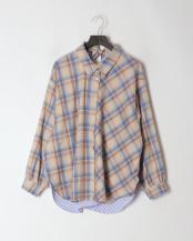 ベージュ●チェック&ストライプバックツイストシャツ○001968