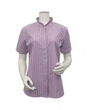 プラム●形態安定ノーアイロン イタリアンカラー 半袖ビジネスワイシャツ○BL029102DB40K00