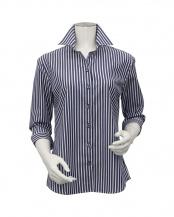 ネイビー●形態安定ノーアイロン スキッパー衿 七分袖ビジネスワイシャツ○BL010101CP24K4X