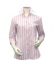 ピンク●形態安定ノーアイロン スキッパー衿 七分袖ビジネスワイシャツ○BL010103AB24K10