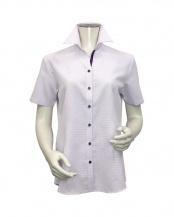 ライトパープル●形態安定ノーアイロン スキッパー衿 半袖ビジネスワイシャツ○BL019303AB44K1S