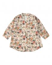 オレンジ●インナー付き 花柄七分袖カジュアルシャツ○BL020101DQ20X00