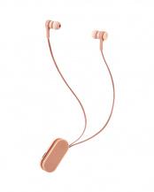 シェルピンク●「ワイヤレスイヤホン」 Bluetooth/巻き取りタイプ/クリップ付き○LBT-HPC17