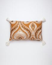 刺繍レクタングルクッション(中綿付) オレンジ○M26-1454OR