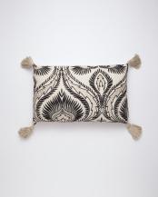 刺繍レクタングルクッション(中綿付) ホワイト○M26-1454WH