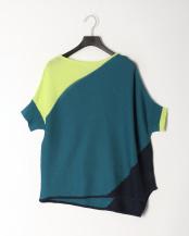 53/緑系F●SUPERLADY アートな彩り、バイアスリブニットプルオーバー○39180110