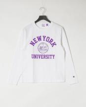 ホワイト●NEW YORK 長袖 ラグラン Tシャツ○C5-S404
