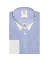 ライトブルー●形態安定ノーアイロン クレリック タブカラー 長袖ビジネスワイシャツ○BM010100AA11T4A