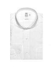 ホワイト●形態安定ノーアイロン ホリゾンタルワイドカラー 長袖ビジネスワイシャツ○BM010100AA11Z4A