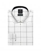 グレー●形態安定ノーアイロン ラウンド  長袖ビジネスワイシャツ○BM010100AA12L4V