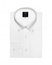 ホワイト●形態安定ノーアイロン ドゥエボットーニ ボタンダウン   長袖ビジネスワイシャツ○BM010100AB12V1S