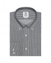 グレー●形態安定ノーアイロン ボタンダウンカラー 長袖ビジネスワイシャツ○BM010100AC11B1A