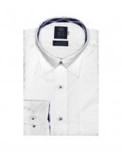 ホワイト●形態安定ノーアイロン スナップボタン 長袖ビジネスワイシャツ○BM010100AC12N4X