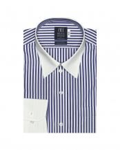 ネイビー●形態安定ノーアイロン クレリックレギュラーカラー 長袖ビジネスワイシャツ○BM010101AA12R4A