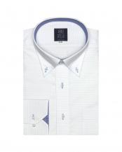 サックスブルー●形態安定ノーアイロン ドゥエボットーニ ボタンダウン 長袖ビジネスワイシャツ○BM010101AK12V1A