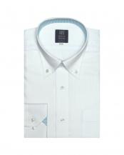 サックスブルー●形態安定ノーアイロン ドゥエボットーニボタンダウンカラー 長袖ビジネスワイシャツ○BM010102AC12V1A