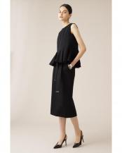 ブラック ジャージーセットアップストレートスカート ELE STOLYOF○7070120401