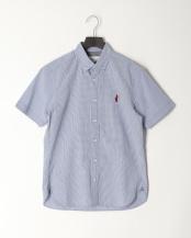 青色チェック●クマ刺繍サッカーBD SS○0-0804-2-51-001