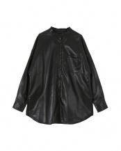 ブラック●エコレザーバンドカラーシャツ○AXJR3009
