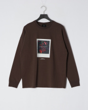 BROWN●ドロップショルダープリントTシャツ(Less is more)○5155537