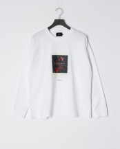 WHITE●ドロップショルダープリントTシャツ(Less is more)○5155537