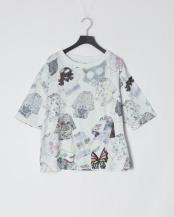 オフホワイト●スカラーTシャツ柄6分袖Tシャツ○111030